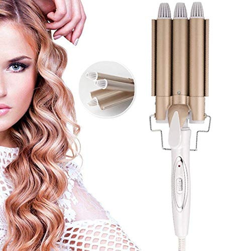 3 Fässer Lockenstab, konstante Temperatur Lockenwickler,TUT Nicht WEH Haare, Ändern Sie die Haarform nach Belieben, kleine und große Rollen,Schnelle Erwärmung Lockenwickler für Lange/Kurze Haare,25mm
