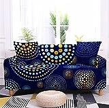 Funda para Sofá Sofas de Salon Mandala Abstracto Dorado Fundas de Sofa Elasticas Fundas para Sofá Ajustables Estampada Cubre Sofa con 1 Funda de Cojín