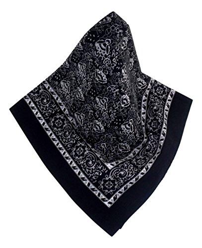 Schwarzes Nickituch mit modernem Blumenmuster | Bandana aus 100% Baumwolle | 70 x 70 cm | Halstuch | Teichmann