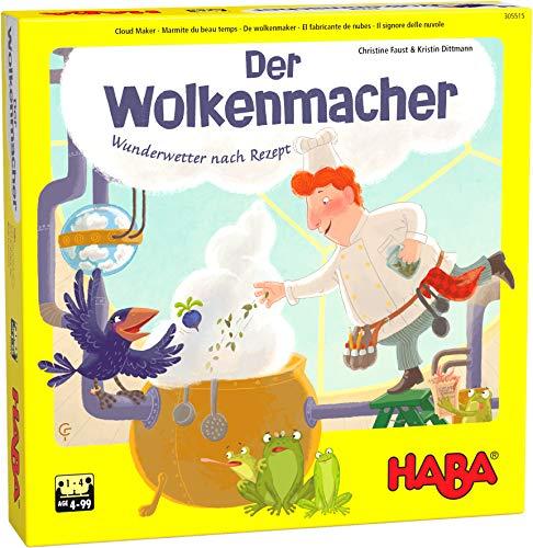 HABA 305515 - Der Wolkenmacher, kooperatives Memo-Laufspiel für 1–4 Spieler ab 4 Jahren, Würfelspiel mit großem Spielplan aus 6 Teilen zum Puzzlen