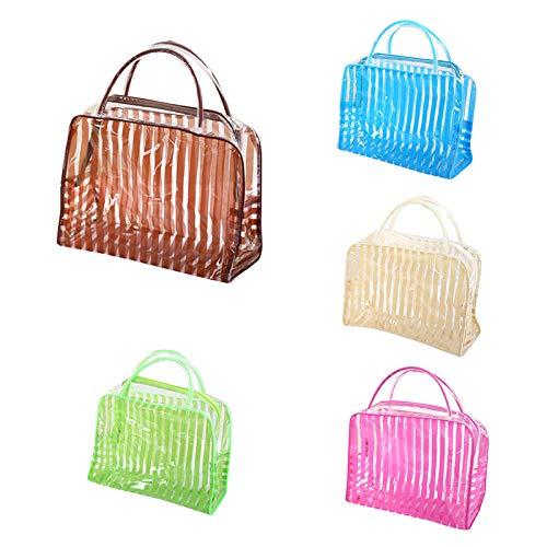 Trousse de Maquillage Transparent Stripe Makeup Bag Waterproof Travel Wash Storage24.5 * 9 * 17cm -Green_24.5 * 9 * 17cm_