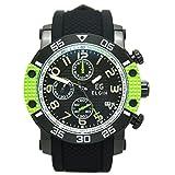 [エルジン]ELGIN 腕時計 EGシリーズ クロノグラフ シリコンラバーベルト グリーン EG-001-GR メンズ
