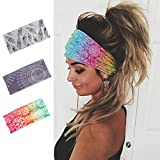 Earent Boho African Headbands Yoga Wide Knot Hair Bands Sweat Printed Headwraps Elastic Turban Headscarfs Multicolor Headwear Outdoor Hair Accessories for Women and Girls (Pack of 3)