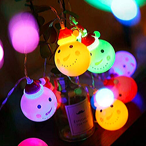Cadena de Luces LED de Muñeco de Nieve, PTN Snowman String Starry Light, 3 Metros 20 Luces LED con Caja de Batería Impermeable, Luces de Navidad al Aire Libre para Jardines, Hogar, Fiesta de Navidad
