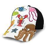 Gorro de béisbol unisex de algodón de perfil bajo lavado en blanco bajo el mar Tema de vida silvestre criaturas divertidas en estilo de dibujos animados divertido océano acuario