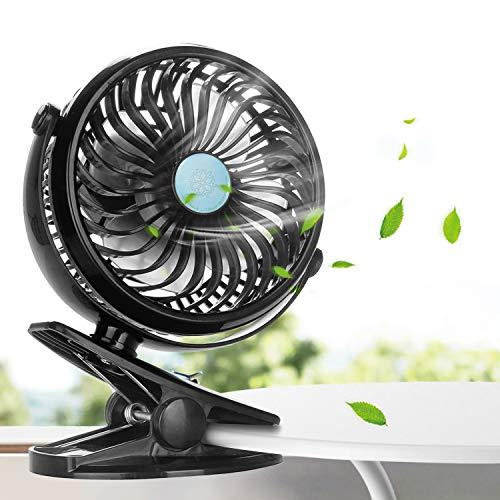 Ventilador USB, innislink Mini Ventilador Clip Fan Portatil Silencioso con Pilas Recargable Rotación 360º , Mini Ventilador para Casa Oficina Estudiar Trabajo Viajar Cámping Carrito de bebé - Negro