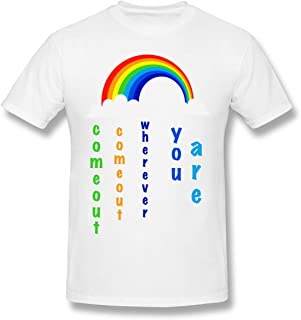 Funny Pro Gay Lesbian Marriage Come out Wherever You Are Gay Pride Men's Basic Short Sleeve T-Shirt Gay Pride T-Shirts Pride Tops For Men White