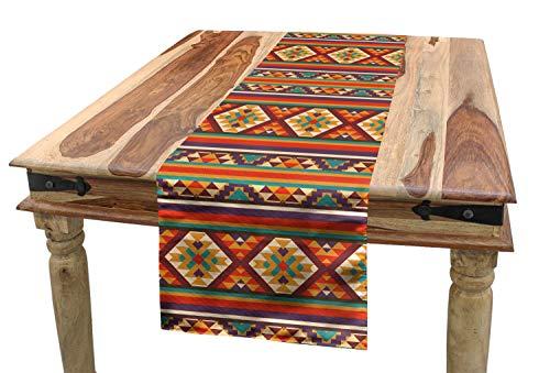 ABAKUHAUS Vistoso Camino de Mesa, Tribales Aztecas etnicas, Decorativo Estampado Digital Apto Lavadora No Destiñe, 40 x 225 cm, Multicolor