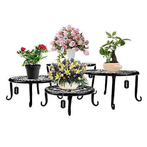 AISHN Metal Plants Stand Flowerpot Holder Iron Art Pot Holder, Flower Pot Supporting Indoor Outdoor Garden Pack of 4pcs with Different Size (Black)