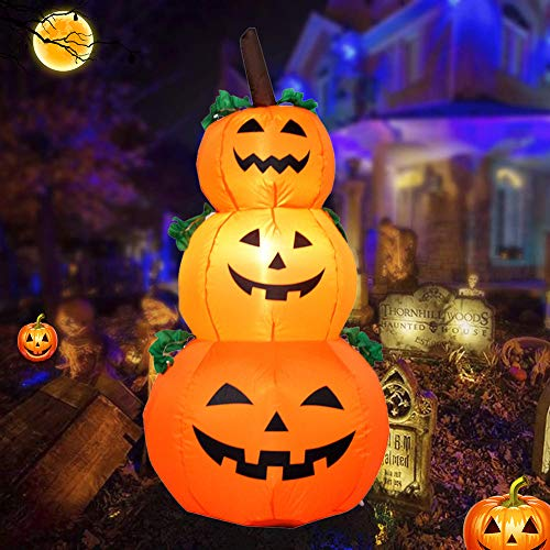 EnweNge Lighted Halloween Inflatable, Self-Inflate Air Blown Pumpkins Decoration with LED Lamp Beads Outdoor Inflatable Halloween Decoration for Party Yard Garden