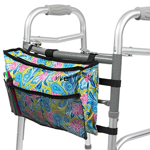 Vive Walker Bag - Water Resistant Accessory Basket Provides Hands Free Storage for Folding Walkers - Attachment Fits Wide and Narrow Styles - Tote Caddy Pouch for Elderly, Seniors, Handicap, Disabled