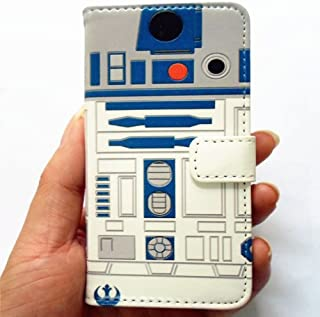 R2D2 Robot Pattern Slim Wallet Card Flip Stand Leather Pouch Case Cover For Apple iphone 5 iphone 5S