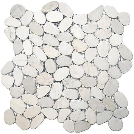 Sliced White Pebble Tile 1 sq.ft. (Mesh Mounted) - Marble