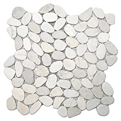 professional Cut white pebble tiles into 1 square foot.  (On the grid)