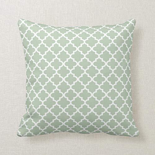CELYCASY marokkanisches Vierfolien-Muster, Salbeigrün, dekorativer Kissenbezug für Sofa, Schlafzimmer, Lendenwirbelkissen, 45,7 x 45,7 cm
