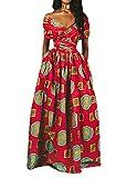 Giovacker Women's Africa DIY Band Floral Print Backless Sleeveless Split Dress Lace High Waist Adjustable Straps Bohemia Dress(Long Style Big Circle)