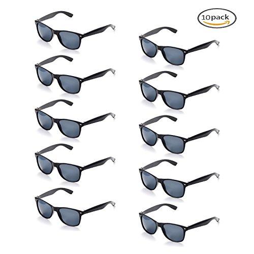 Onnea 10 Piezas Gafas de Sol Fiesta Colores Paquete Años 80 (Negro 10-Paquete)