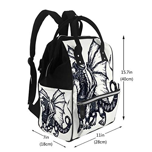 Diaper Bags Backpack Dragon Tattoo Art Symbol Force Fantasy Fairy Tale Strong with Celtic Ornament Design Large Capacity Muti-Function Travel Backpack