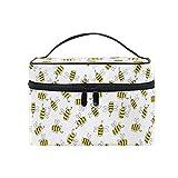 HaJie - Bolsa de maquillaje de gran capacidad, organizador de viaje con estampado de animales de abeja, portátil, neceser, bolsa de almacenamiento, bolsa de lavado para mujeres y niñas
