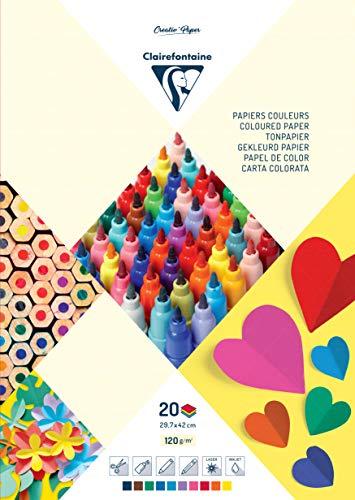 Clairefontaine 97148C Tonzeichenpapier Block Premium, Din A3, 29.7 x 42 cm, 20 Blatt, 120 g, farbig sortiert