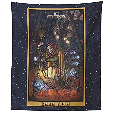 "Baba Yaga The Hermit Tarot Card Tapestry - Slavic Pagan Witchcraft Wall Hanging Home Decor (60"" x 50"")"