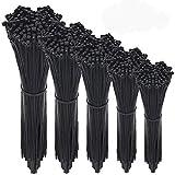 Wire Ties,HMfire 500 Pcs Adjustable & Durable Self-locking Nylon Zip Cable Ties Heavy Duty, 4/6/8/10/12Inch, 4mm Width, Black