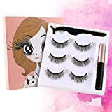 magnetic eyelashes with eyeliner, magnetic lashes, New upgraded magnet eyelashes, 3D fiber lashes Natural look, No glue, easy to wear and Reusable (3pairs eyelashes with applicator and eyeliner)