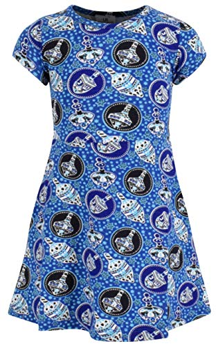 Unique Baby Girls Repeating Dreidel Print Shirt Dress (2T/XS) Blue