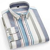 XJJZS Camisas de rayas para hombre de algodón puro Oxford Tela Escocesa de negocios Casual Hombre largo Hombre de  Camisa (Color : L, Size : 41 175CM 70KG)