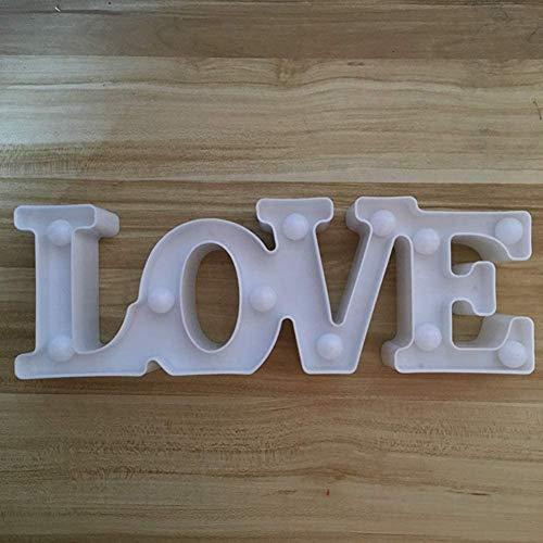 ZYCH Navidad Romantic 3D Love LED Letter Sign Night Light Marquee Luz Cálida Lámpara de Mesa Linternas Nightlights para Decoración de Bodas Regalos Regalo (Color : White 300 * 100 * 40(mm))