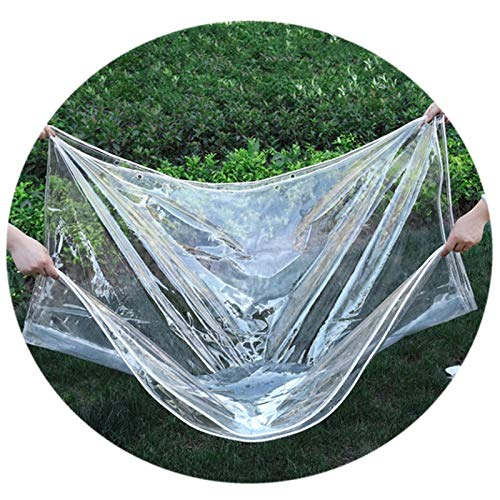 LH-RUG Tarp Waterproof Heavy Duty, Clear PVC Soft Glass, 400G/m2 Anti-Aging Insulation, 0.35mm Patio Canopy Support Customization (Color : Clear, Size : 2.4x4m)