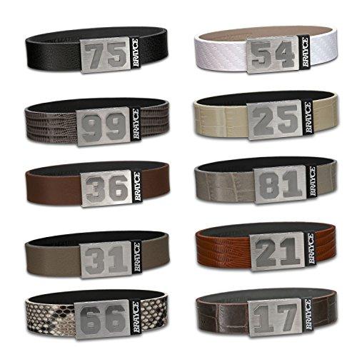 BRAYCE® Lederarmband mit Deiner Nummer 00-99 I personalisierbarer Schmuck für Herren & Damen – das Trend Armband aus Echtleder, handgemacht in Deutschland