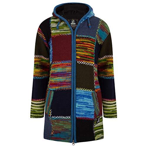 Lange Wollmantel Patch Strickjacke mit Kapuze - SHAKALOHA - W Longpatch Multi Blau Rot Mantel für Damen - im fairen Wettbewerb in Nepal hergestellte Wolljacke mit fleecegefütterter Kapuze. - S