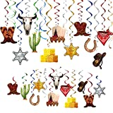 TMCCE Wild West Cowboy Western Hanging Swirls Foil Western Party Decoration Western Cowboy Theme Party Photography Backdrop Supplies 44Ct