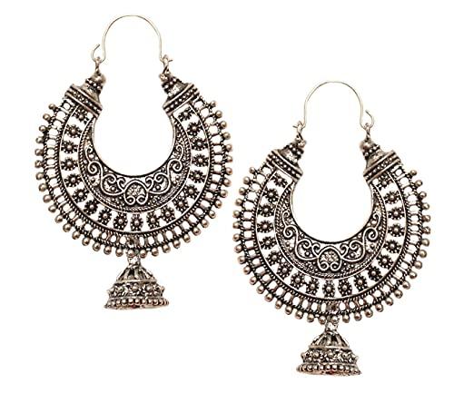 Pahal - Pendientes de aro de plata india oxidada tradicional de Jhumki Bollywood para mujer