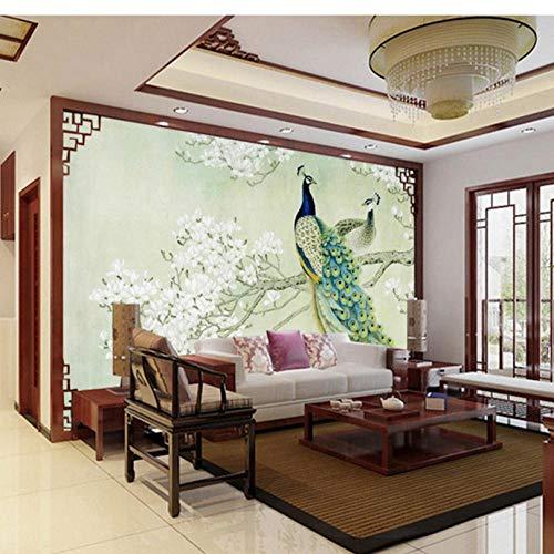 Aangepaste klassieke muurschildering 3D stereo pauw hout vezel behang woonkamer studie achtergrond landschap papel De Parede 3D Home Decor-350cmx245cm
