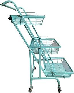 KT キッチンワゴン カゴ独立 角度調整 180度 90度 キッチン 浴室 リビング (ミント) [並行輸入品]