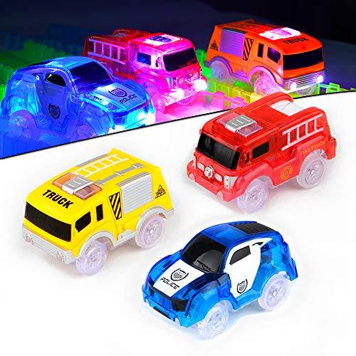 AniSqui Track Cars, 3 Pack Race Cars Autorennbahn Spielzeug Auto, 5 LED Blinklichtern Magic Toys, Childs Geschenke by