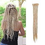 SEGO Dreads Extension Dreadlock Rasta 5 Pezzi Treccia Donna Dread Capelli Sintetici Braiding Hair Fibre Uncinetto 50cm - Biondo Cenere