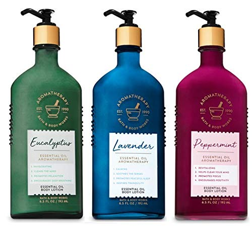Bath and Body Works 3 Pack Essential Oil Aromatherapy Body Lotion 6.5 Oz. Peppermint, Eucalyptus & Lavender.