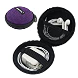 Iksnail Earbud Earphone Headphone Case Small Mini Storage Carrying Pouch Travel Organizer Bag for Wireless Bluetooth Headphone/MP3 Wired,Charger,Cords/USB Cable,USB Flash Drive Purple