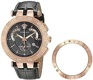 Versace Men's 23C82D008 S009 V-RACE CHRONO Analog Display Swiss Quartz Black Watch