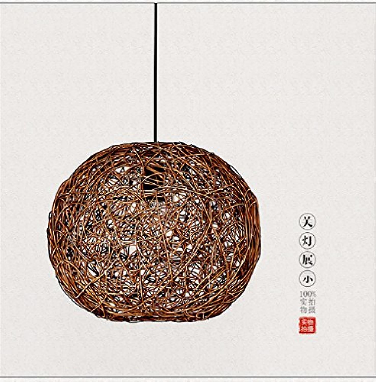 Lx.AZ.Kx Rattan Pendelleuchte Wohnzimmer Schlafzimmer einem Kopf Pendelleuchte Kugel Lampe, 400 mm