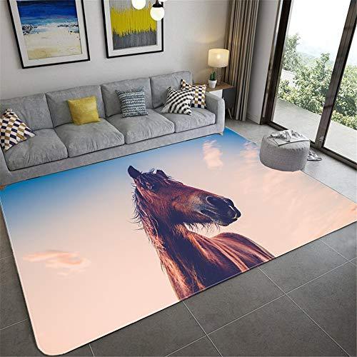 HTMP-HS Alfombra De La Sala De Estar Alfombra Mustang 3D Pastoral De Invitados Pasillo Alfombra Mesa De Café Dormitorio Cama Completa Alfombra Antideslizante,B,80 * 120cm