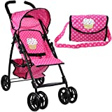 Mommy & Me Doll Stroller Foldable Umbrella Doll Stroller with Basket, Swiveling Wheels and...