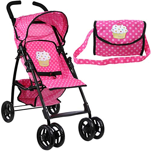 Mommy & Me Doll Stroller Foldable Umbrella Doll Stroller with Basket, Swiveling Wheels and Free Carriage Bag 9351A...