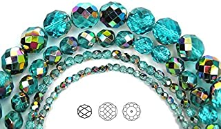 3mm (405 Beads) Aqua Vitrail Coated, Czech Fire Polished Round Faceted Glass Beads, 3x16 inch Strand