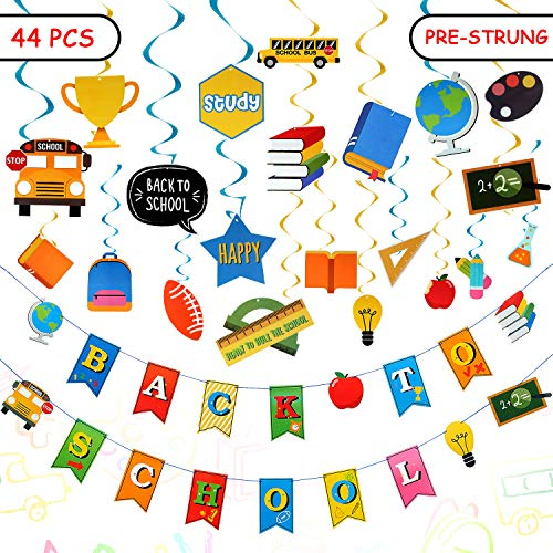 44 Pcs Back to School Decorations Welcome Back Banner Hanging Swirl Multi-color Pencil Banner Stationery Chalkboard Banner Set First Day of School Classroom Theme Party Decoration for Student Teacher