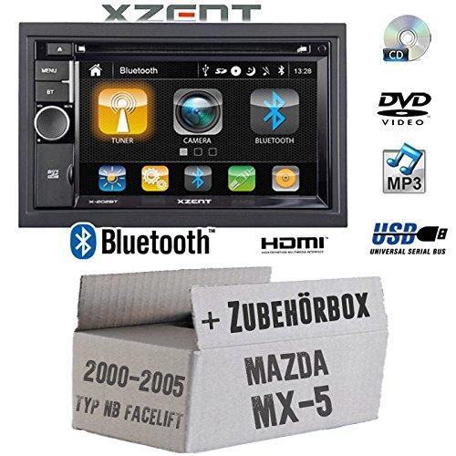 Autoradio Radio Xzent X-202BT MkII   2-DIN Bluetooth DVD CD USB HDMI Touch Bildschirm PKW - Einbauzubehör - Einbauset für Mazda MX- JUST SOUND best choice for caraudio