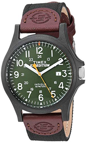 Timex Men's TWF3C8430 Expedition Acadia Black/Brown/Dark Green Leather/Nylon Strap Watch